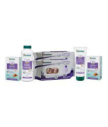 Himalaya Soothing Baby Wipes 72Pcs (Pack of 2) + Himalaya Baby Cream 200ml + Gentle Baby Soap 125 gms (2pcs) + Himalaya Baby Powder 100g