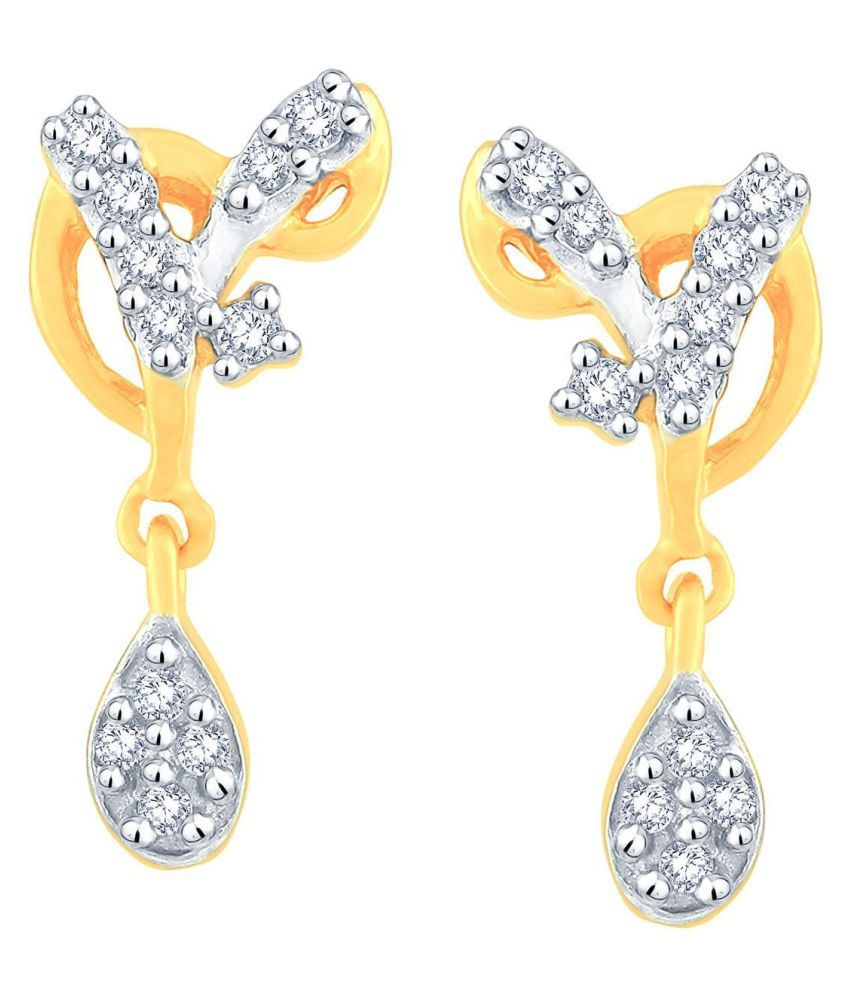 Asmi 18k BIS Hallmarked Gold Diamond Drop Earrings