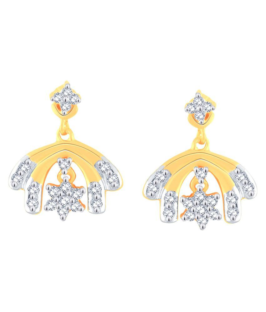 Nakshatra 18k BIS Hallmarked Gold Diamond Drop Earrings