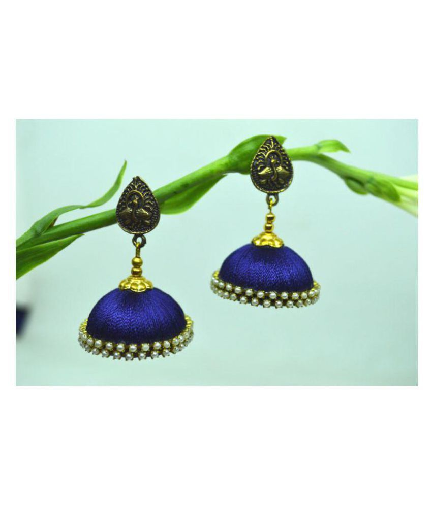 DarkLady Silk Thread Jhumka-Drop Earring Yellow Glossy Finish| Bead Work For Women & Girls