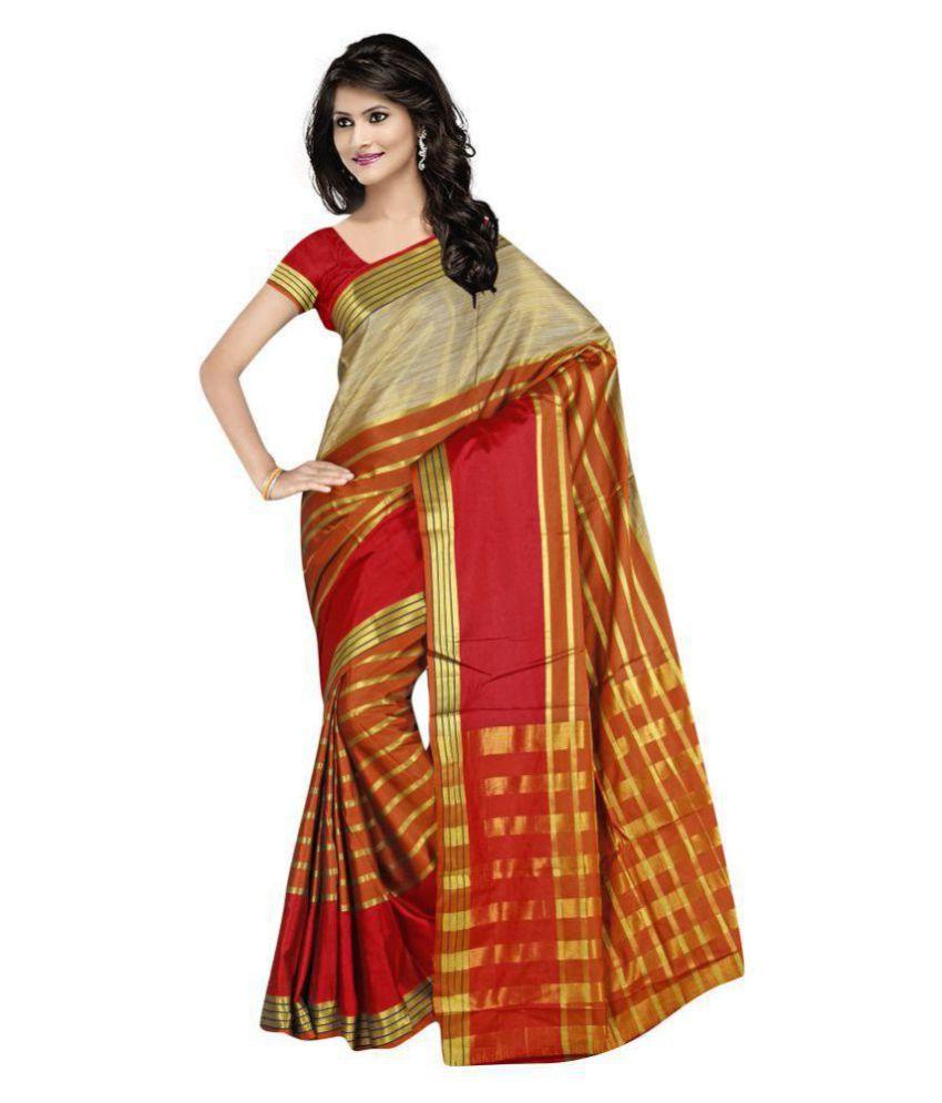 Montage creation Orange Cotton Silk Saree