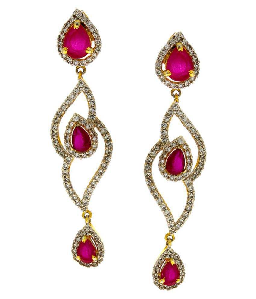 Anuradha Art Pink Colour Classy Studded American Diamonds Stone Fancy Party Wear Long Earrings For Women/Girls