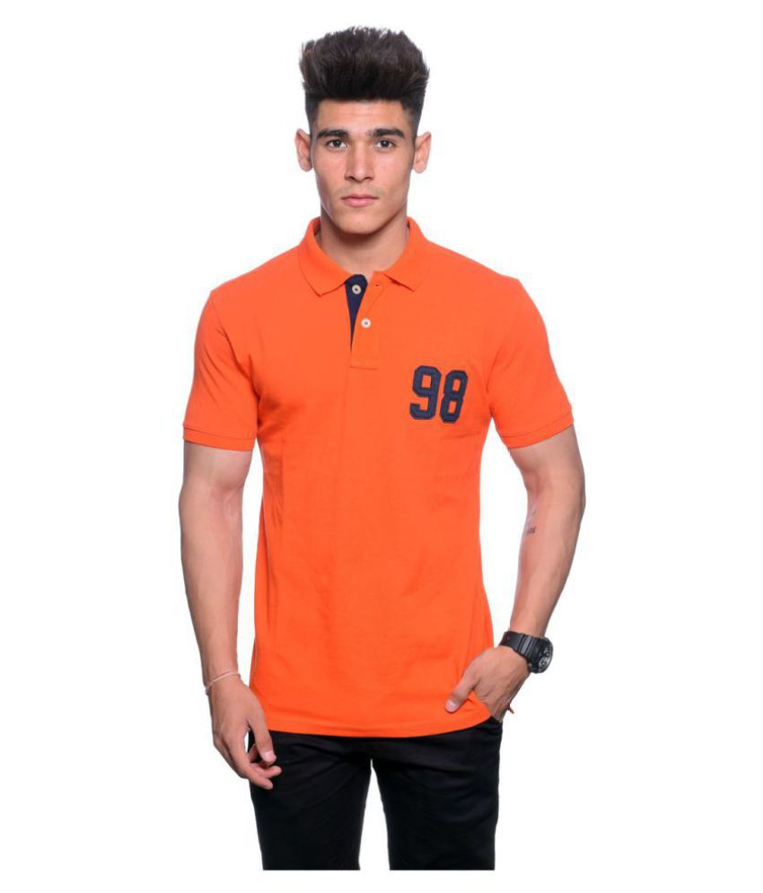 Illusion Orange High Neck T-Shirt