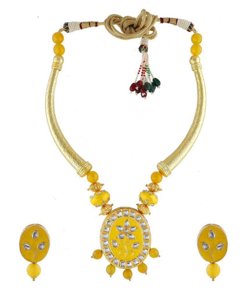 Anuradha Art Yellow Colour Rajasthani Look Styled With Hasli Pattern Traditional Necklace Set For Girls Women