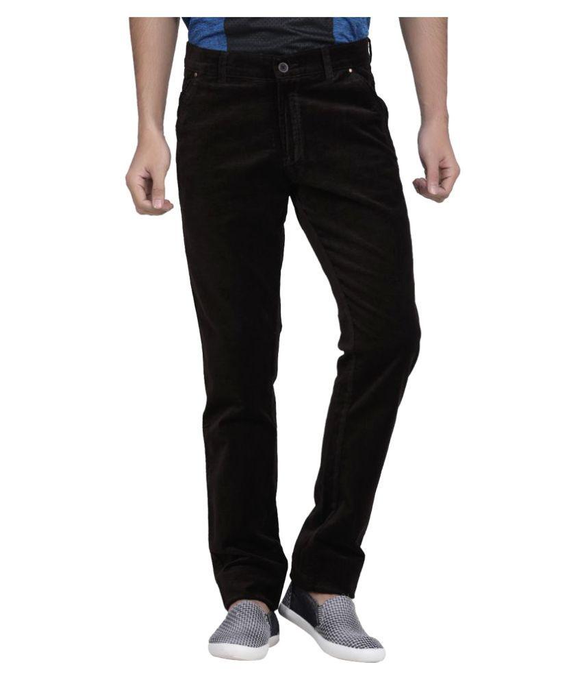 Benzora Black Regular -Fit Flat Chinos