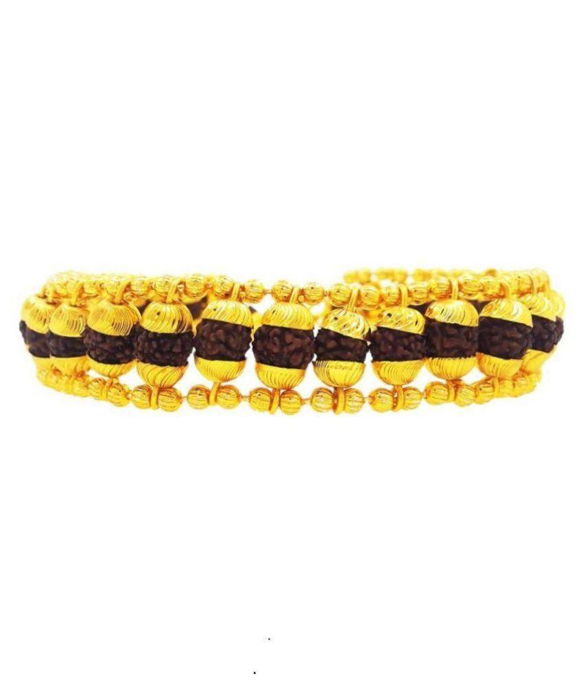 J S Imitation Brass Rudraksha Gold Plated Bracelet for Men And Boys