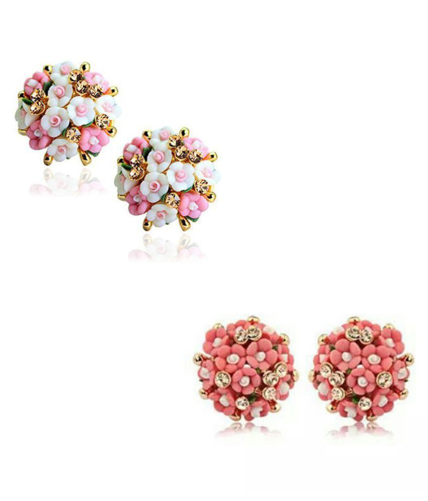 Jewels Galaxy Exclusive Limited Edition AD Floral Design Trendy Multicolor Stud Earrings Collection For Women/Girls - Combo of 2