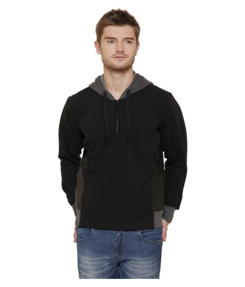 Maggivox Black 100 Percent Cotton Fleece Sweatshirt