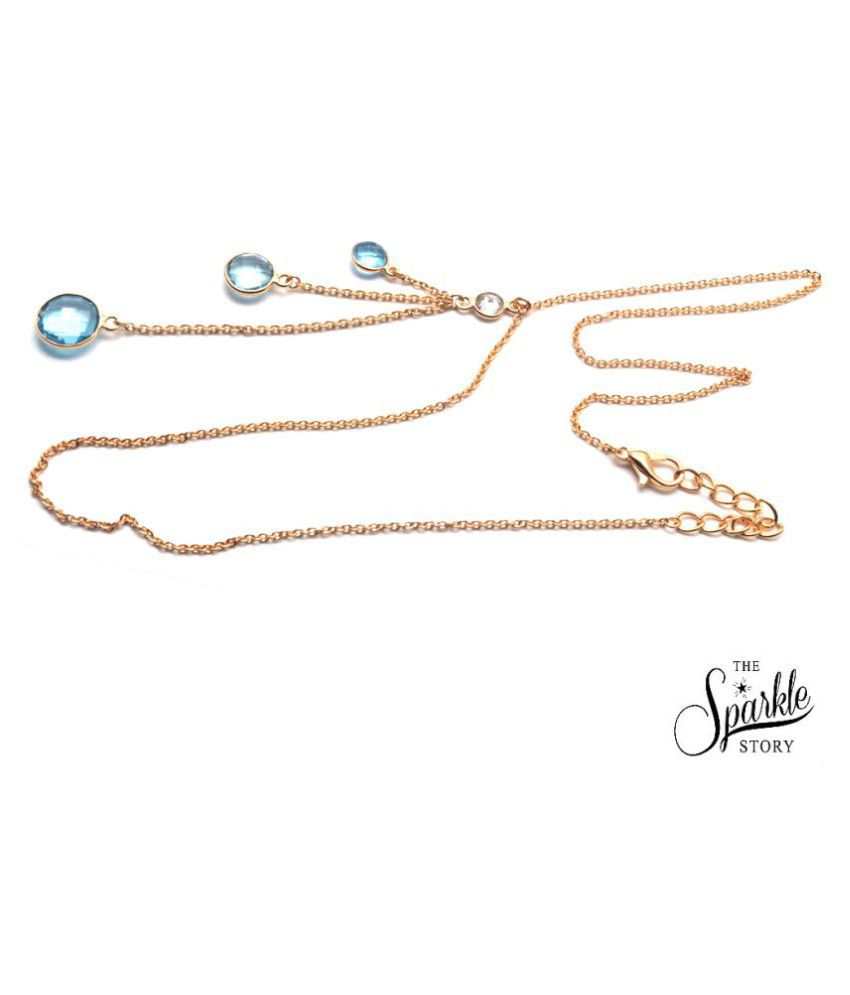 The Sparkle Story Blue Topaz Bezel Gold Plated Trendy Necklace Chain