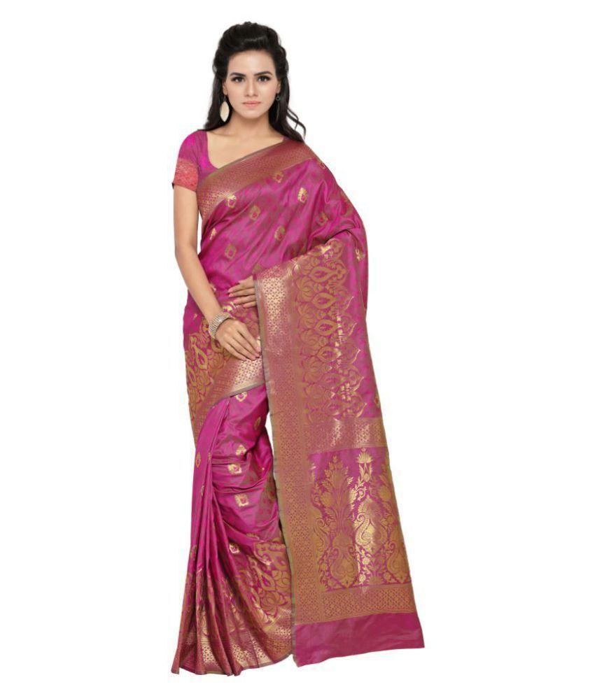 Aagaman Fashions Red and Pink Banarasi Silk Saree