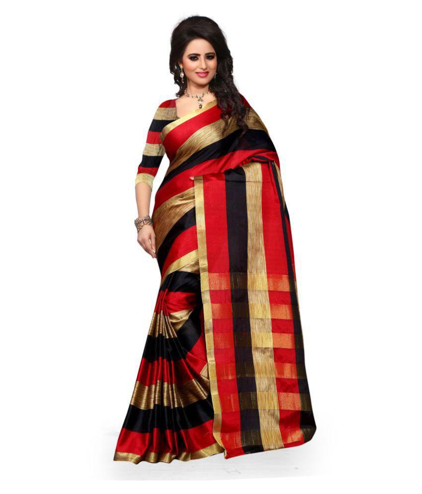 KK Fashion Black Cotton Silk Saree