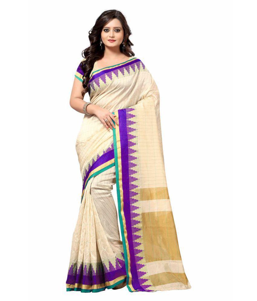 Zypara Beige Cotton Silk Saree