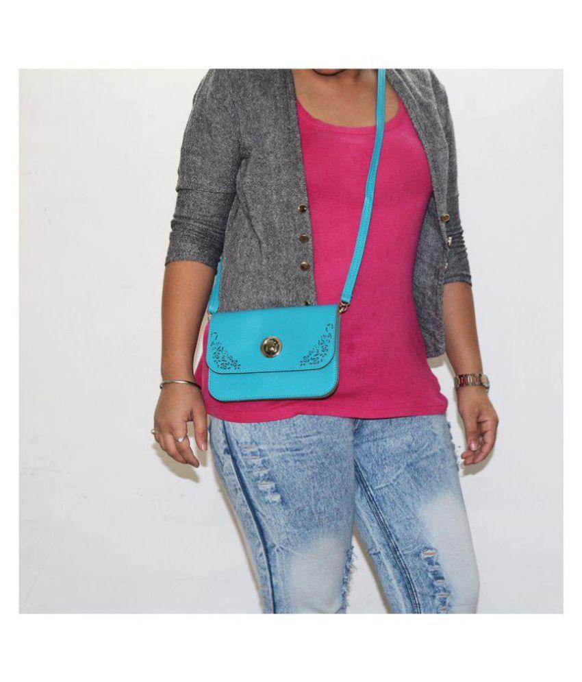 Diva Blue Faux Leather Sling Bag