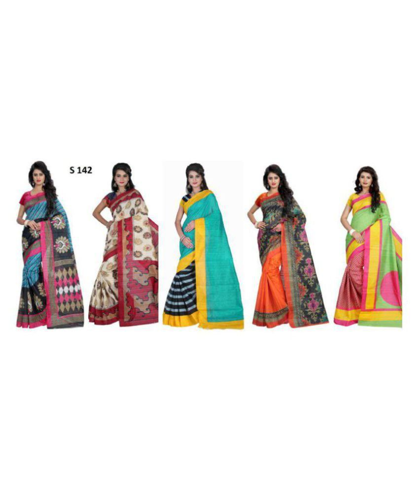 Sharda Creation Multicoloured Art Silk Saree Combos