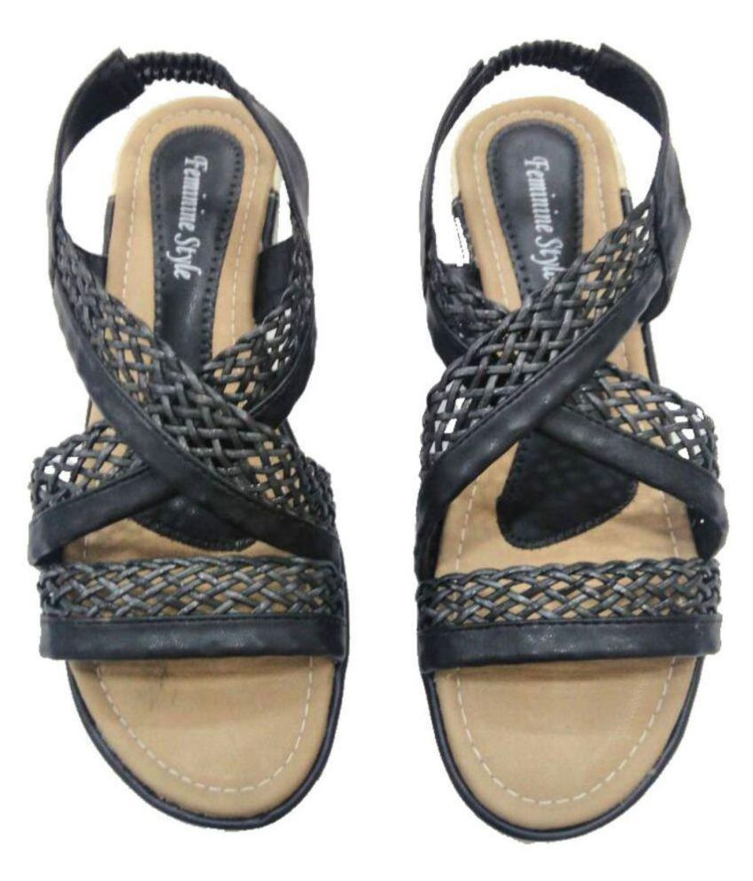 Feminine Style Black Flats