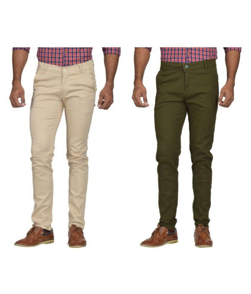 Kushsection Dark Green Slim -Fit Flat Chinos