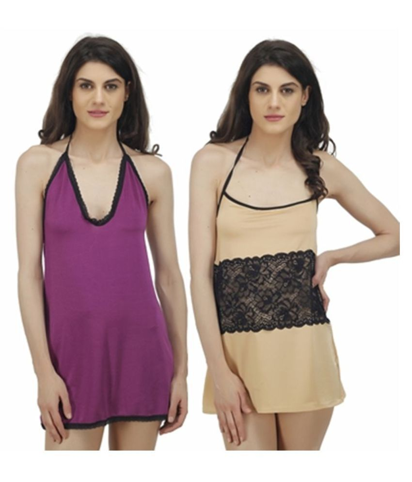 Luste Polyester Baby Doll Dresses With Panty