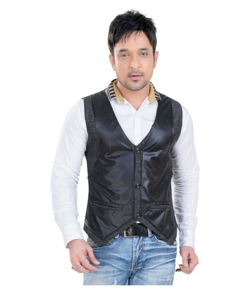 V-Mens Black Plain Casual Waistcoats