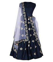 Vrundavan Fashion Blue Taffeta A-line Semi Stitched Lehenga