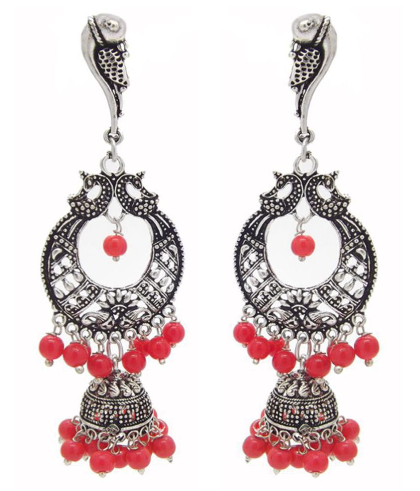9blings Silver Plated Oxidized Peacock Jhumka Jhumki Red Beads Metal Earrings For Women