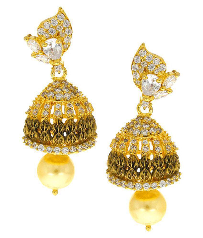 Anuradha Art Golden Matte Finish Studded White Colour American Diamonds Stone Traditional Jhumki/Jhumkas Earrings For Women/Girls