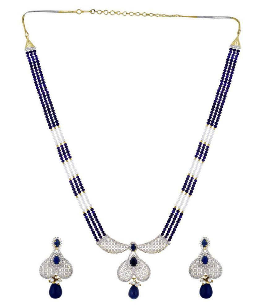 Chaahat Fashion Jewellery Multi Strand (Multi Colour)Blue Pearl Necklace With Drop Earring For Women and Girls\n