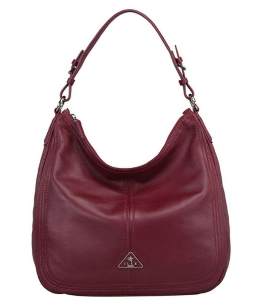 ILEX London Maroon Pure Leather Hobo Bag