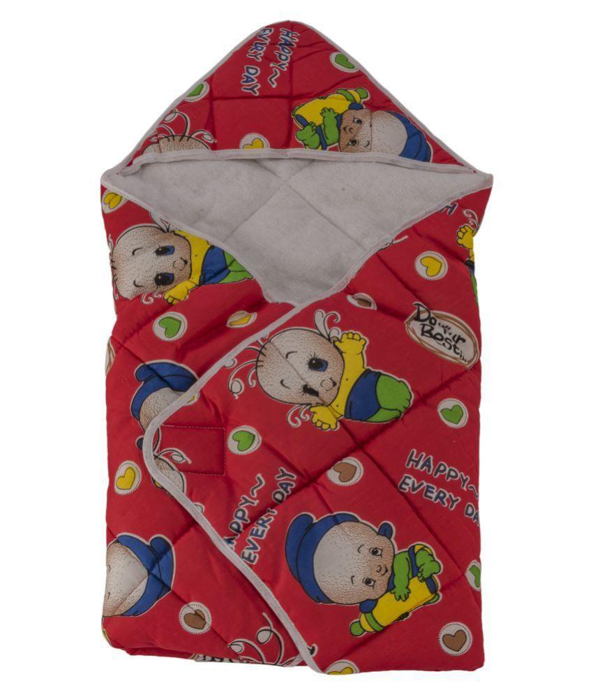 Love Baby Red Cotton Baby Wrap cum blanket ( 70 cm × 70 cm - 1 pcs)