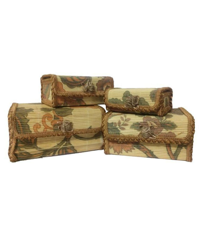 Set Of 4 Jute Handcrafted Jewelry Boxes
