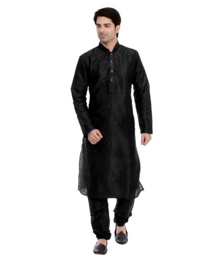 Vastramay Black Cotton Blend Kurta Pyjama Set