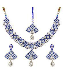 Jewels Gehna Imitation Gold Plated Sparkling Precious Classic Necklace Set For Women & Girls