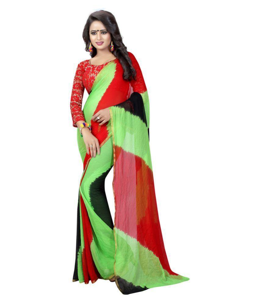Aaliyah Green Chiffon Saree