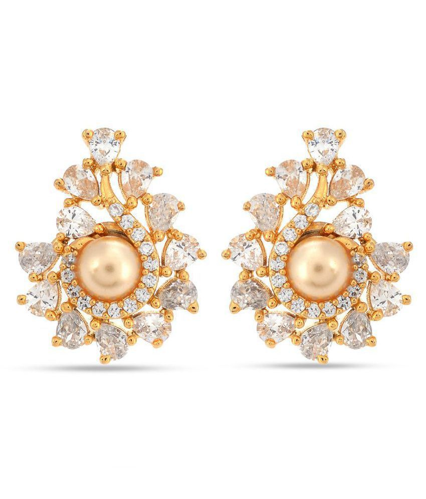 Contemporary Colored Stone Desginer Stylish Party Wear Stud Earring For Girls / Women