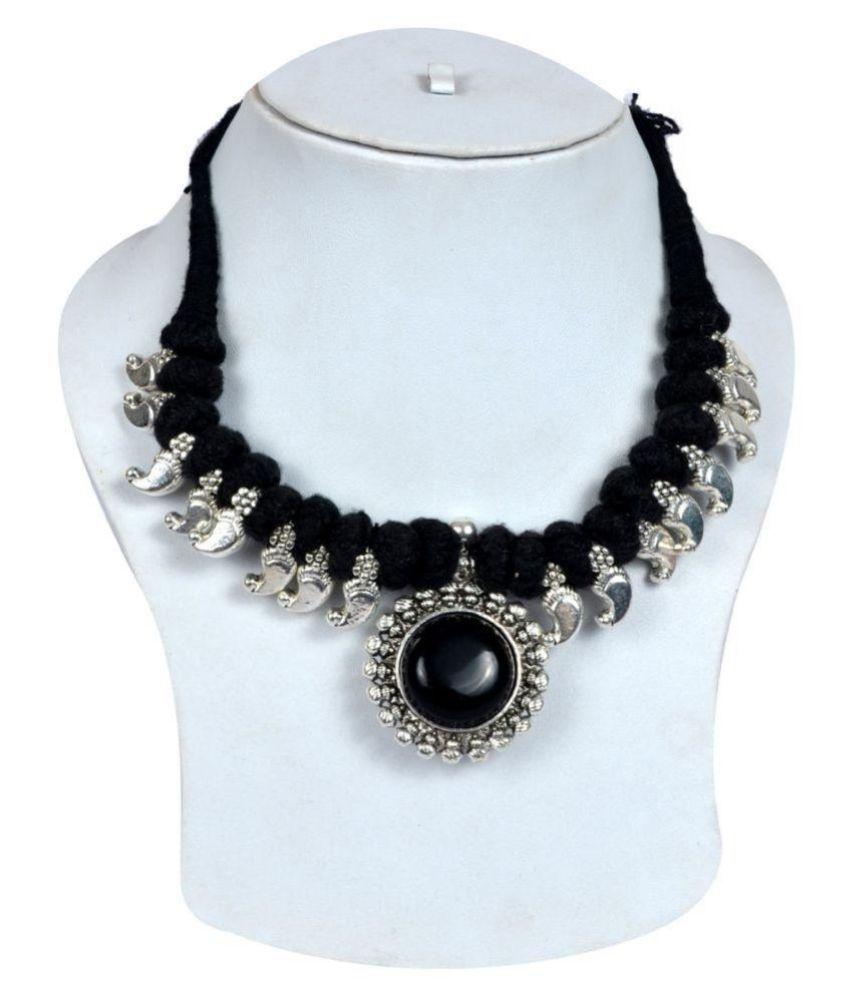 Festival Partywear Black Stone Kolhapuri Thread Necklace