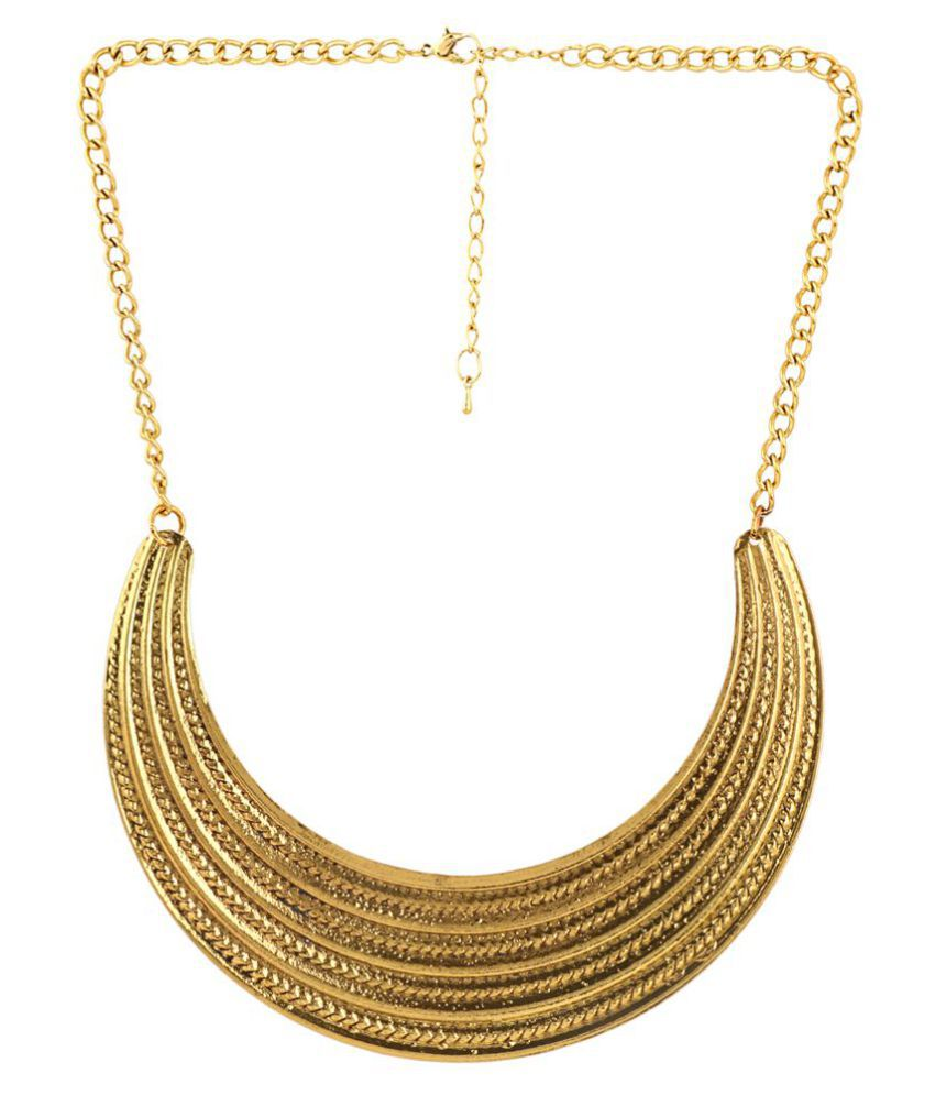 Jazz Designer Fashion Jewellery Yellow Gold Plated Alloy Choker Necklace for Girls