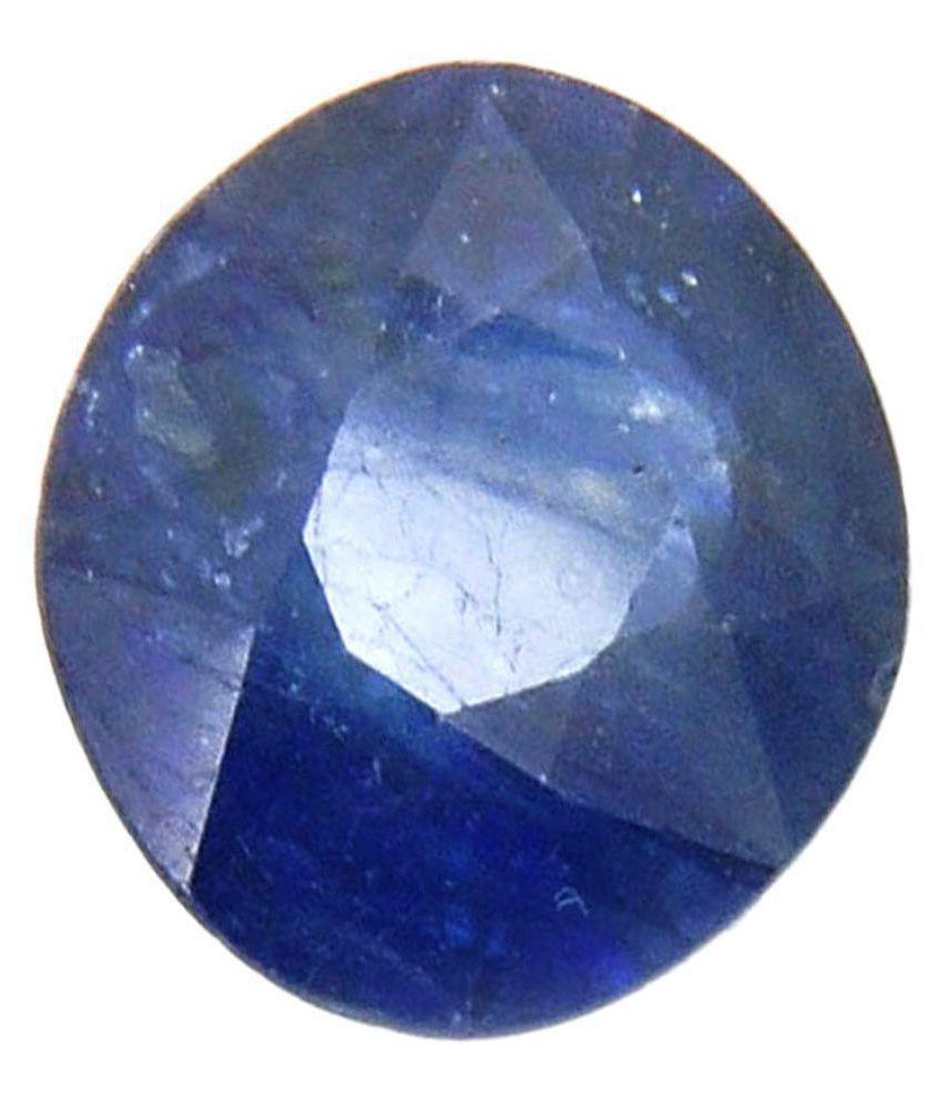Tejvij And Sons 3.25 -Ratti Self certified Blue Sapphire Semi-precious Gemstone