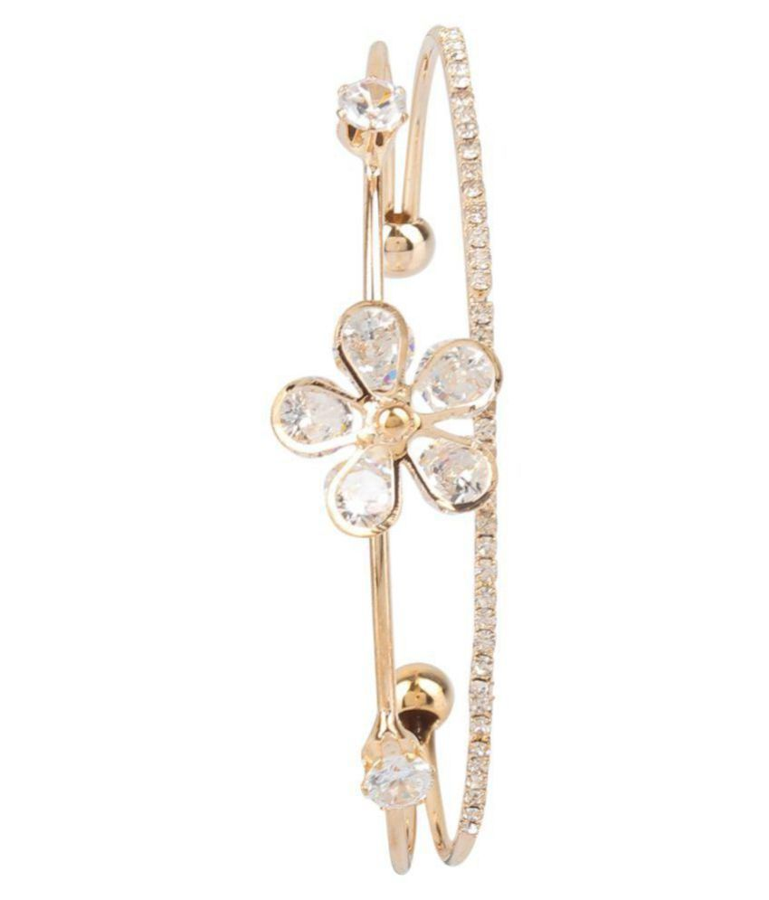 White stone n gold alloy bracelet
