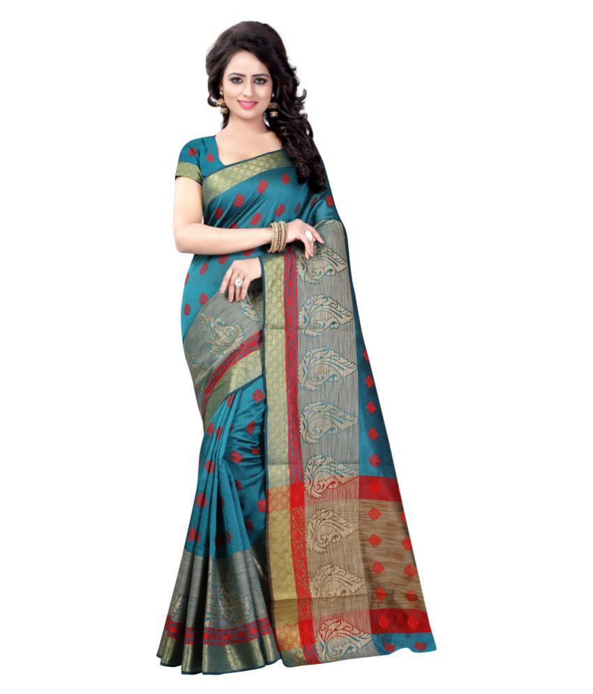 womaniya online Blue Cotton Silk Saree