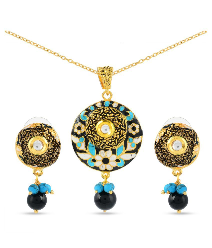 Tistabene Floral Enamelled Traditional Designer Trendy Stylish Fancy Party Wear Pendant Set For Women Fashion Jewellery Pendant Set for Girls (PS-0657)