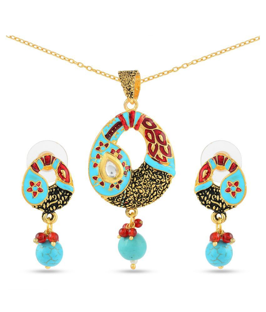 Tistabene Floral Enamelled Traditional Designer Trendy Stylish Fancy Party Wear Pendant Set For Women Fashion Jewellery Pendant Set for Girls (PS-0639)