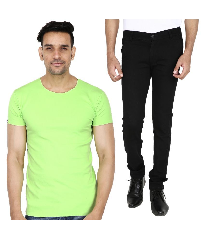 Stallion cotton Clothing Black Regular -Fit Flat Chinos