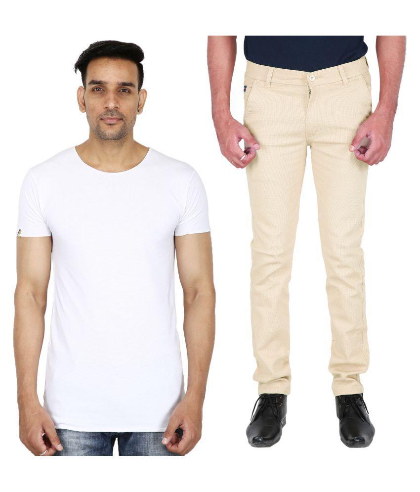 Stallion cotton Clothing Off White Regular -Fit Flat Chinos