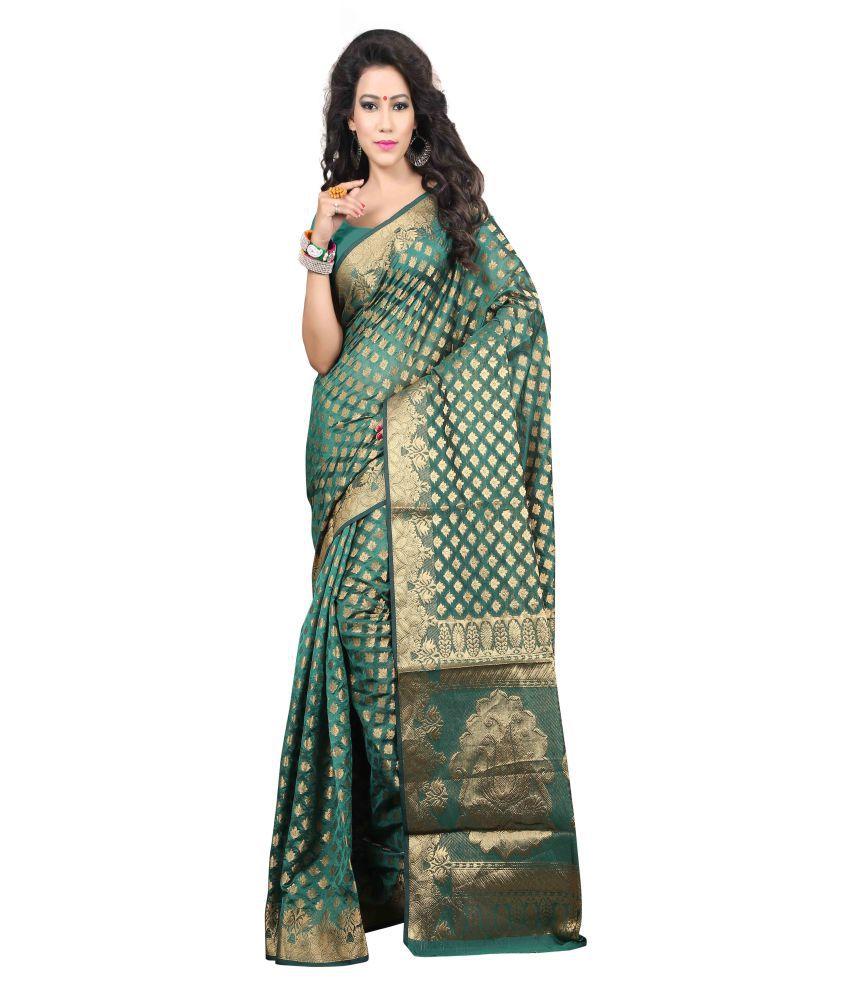 Vishnu Creations Green Banarasi Silk Saree
