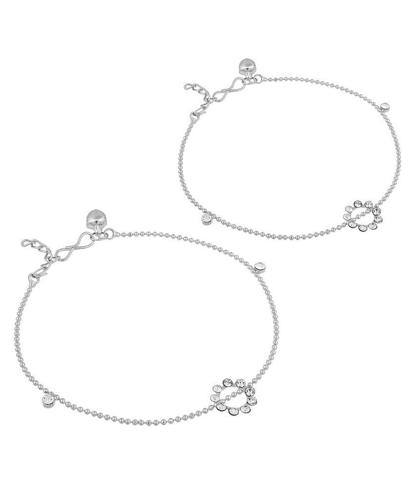 Aadita Traditional Silver Plated American Diamond Anklets Ghungroo for Women