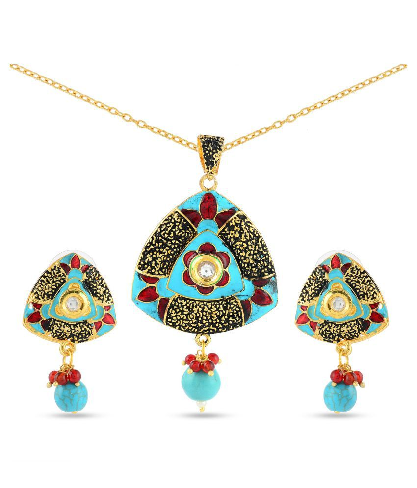 Tistabene Floral Enamelled Traditional Designer Stylish Fancy Party Wear Pendant Set For Girls And Women (PS-0658)