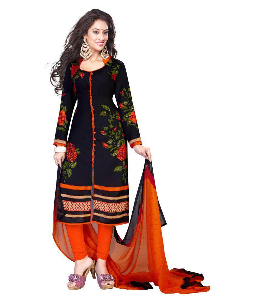 Risera Black Crepe Dress Material