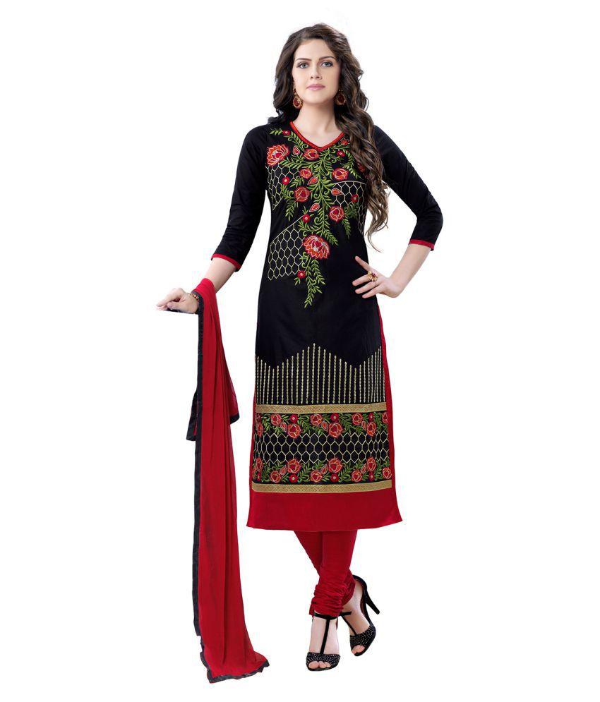 Saree Mall Black Chanderi Dress Material