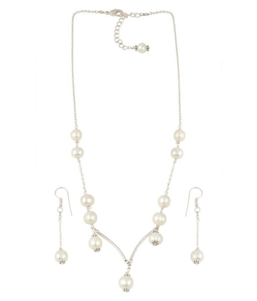 White Freshwater Pearl in Bar Pendant Pearl Necklace Set