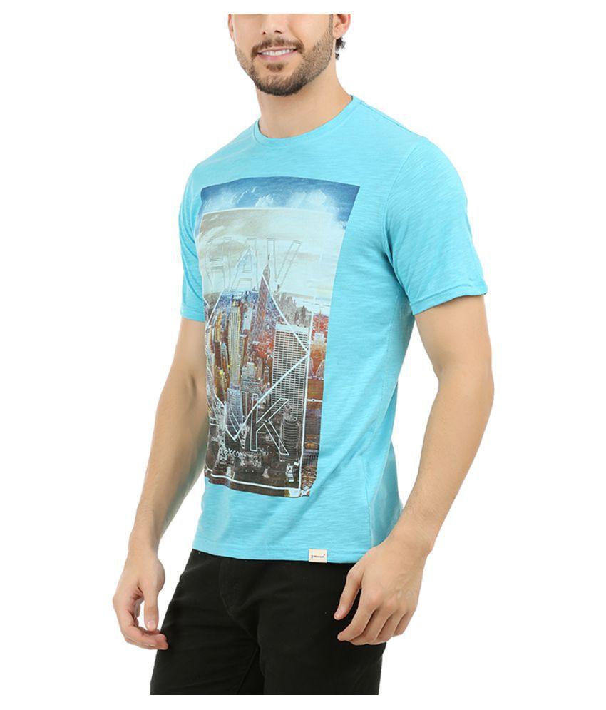 yekcoool Blue Round T-Shirt