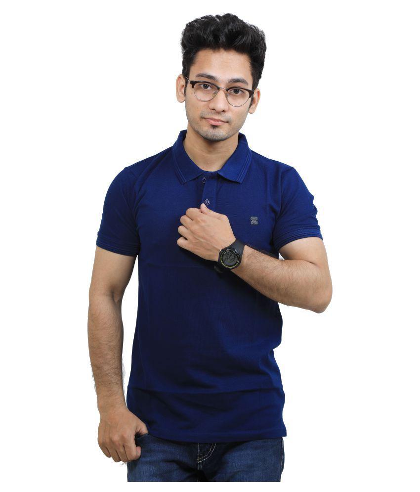 M.V. TEES Blue Cotton Blend Polo T-Shirt